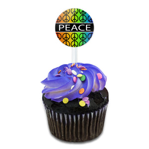 Peace Rainbow Gay Lesbian Cake Cupcake Toppers Picks Set