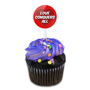 Love Conquers All Cake Cupcake Toppers Picks Set
