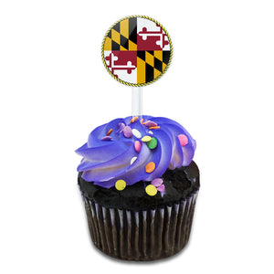 Maryland State Flag Cake Cupcake Toppers Picks Set