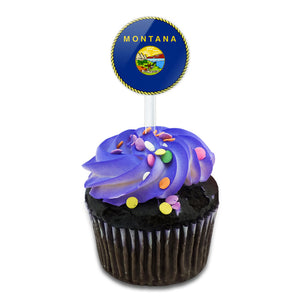 Montana State Flag Cake Cupcake Toppers Picks Set