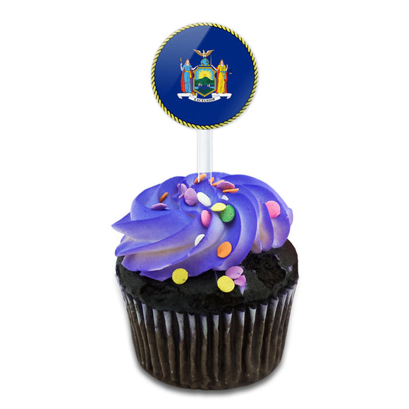 New York State Flag Cake Cupcake Toppers Picks Set