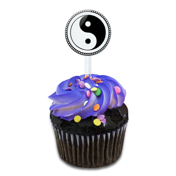Yin Yang Symbol Cake Cupcake Toppers Picks Set