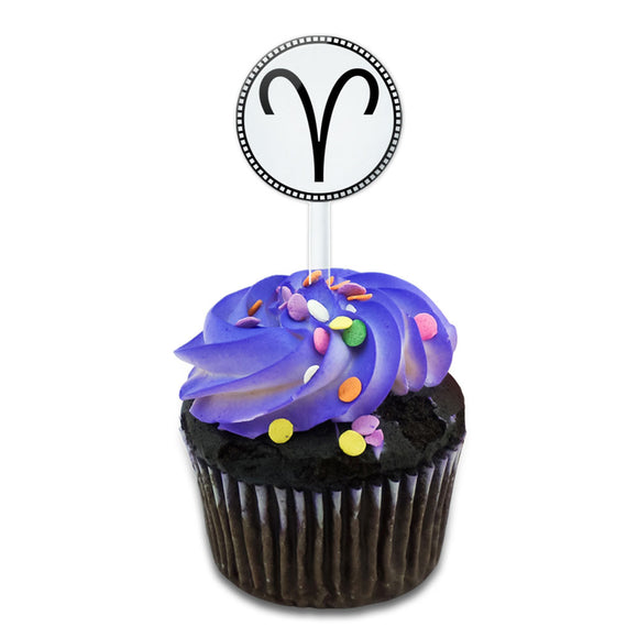 Zodiac Sign Aries Cake Cupcake Toppers Picks Set