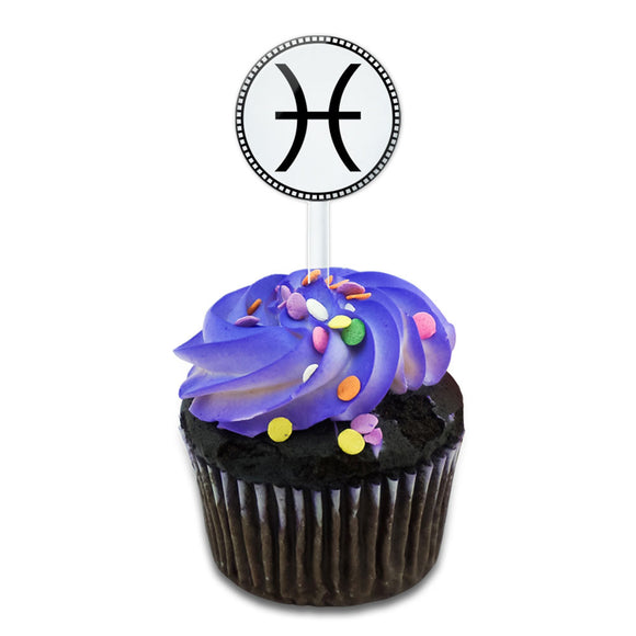 Zodiac Sign Pisces Cake Cupcake Toppers Picks Set