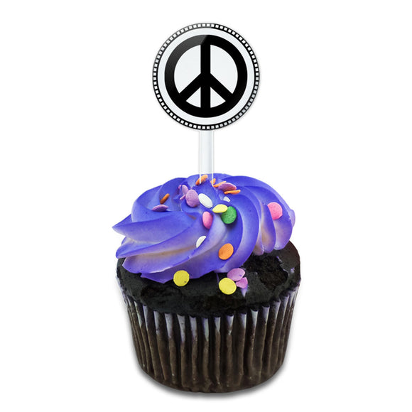Peace Sign Cake Cupcake Toppers Picks Set