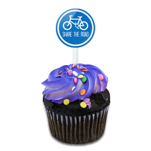 My Road Share the Road Blue Cake Cupcake Toppers Picks Set