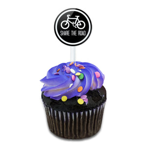 My Road Share the Road Black Cake Cupcake Toppers Picks Set
