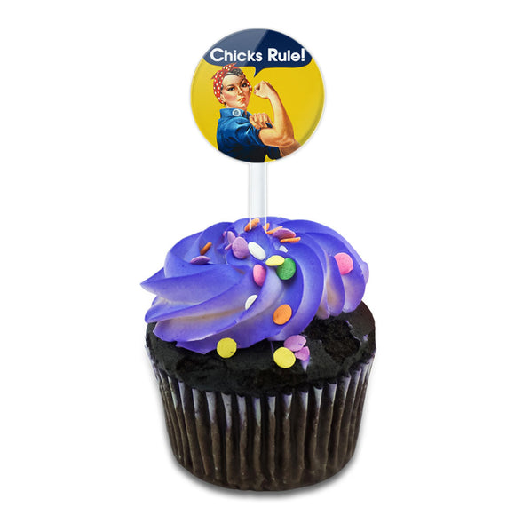 Rosie the Riveter Chicks Rule Cake Cupcake Toppers Picks Set