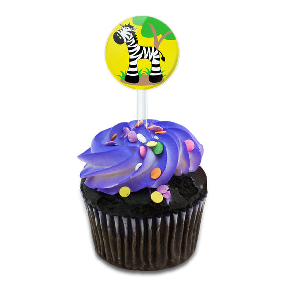 Zebra And Tree Cute Cake Cupcake Toppers Picks Set
