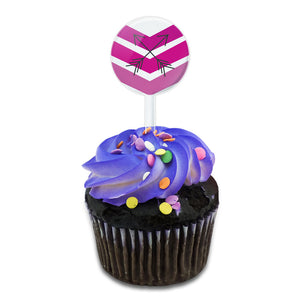 Pink Chevrons & Arrows Cake Cupcake Toppers Picks Set