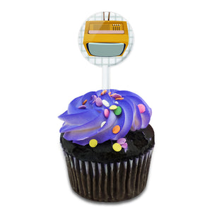 Retro Television Vintage Technology Cake Cupcake Toppers Picks Set