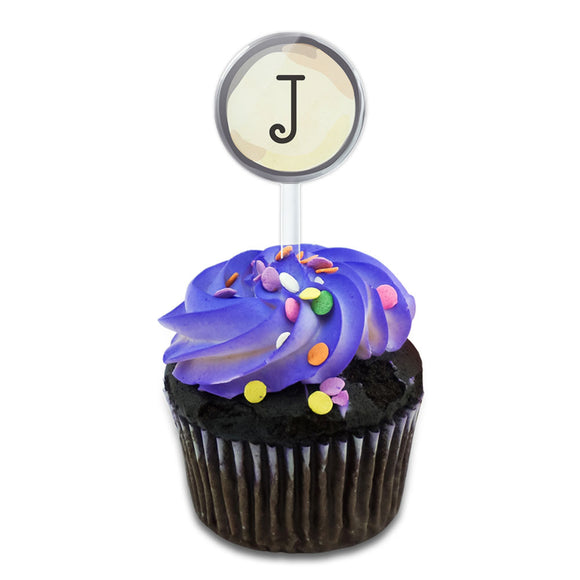 Letter J Typewriter Key  Cake Cupcake Toppers Picks Set