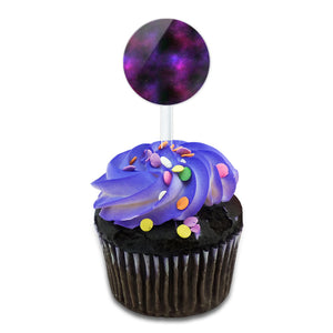 Purple Space Nebula Cake Cupcake Toppers Picks Set
