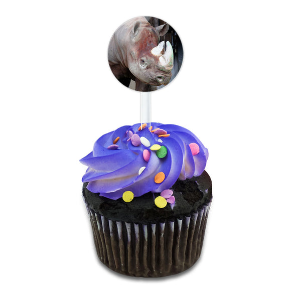 Rhinoceros of the Wild Cake Cupcake Toppers Picks Set