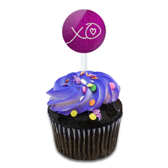 XO Hugs Kisses Love Cake Cupcake Toppers Picks Set