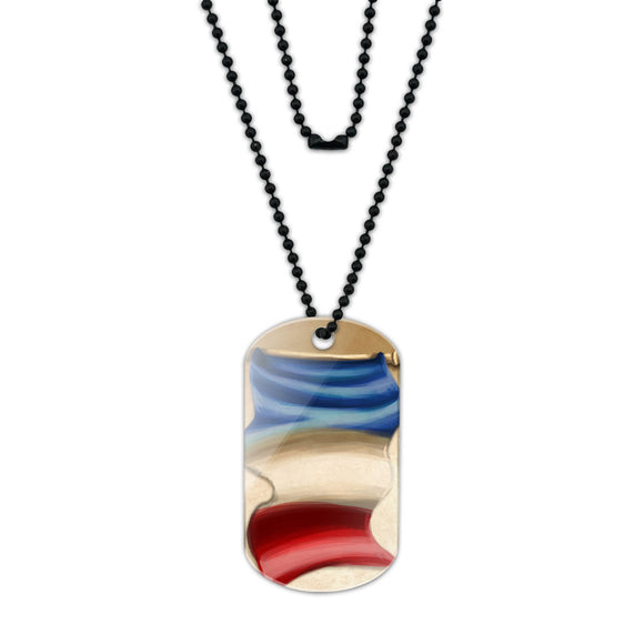 Vintage French Flag France Acrylic Dog Tag with Black Ball Chain