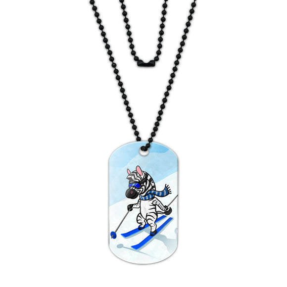 Zebra Skiing Acrylic Dog Tag with Black Ball Chain