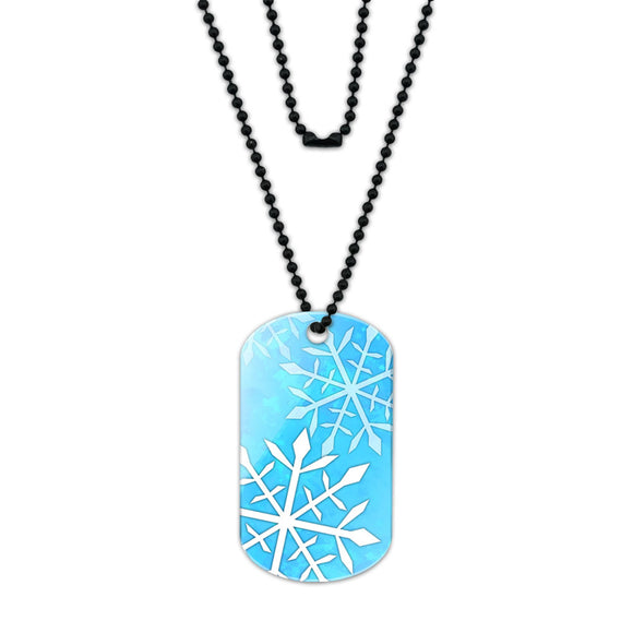 Snowflakes Acrylic Dog Tag with Black Ball Chain
