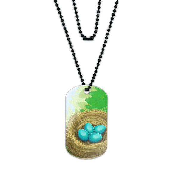 Robins Nest with Eggs Acrylic Dog Tag with Black Ball Chain