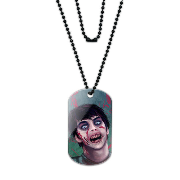Zombified Boy Acrylic Dog Tag with Black Ball Chain