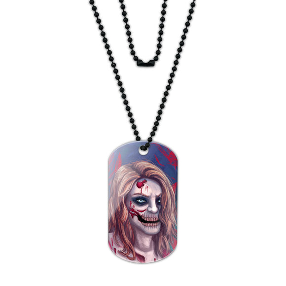 Zombified Girl Acrylic Dog Tag with Black Ball Chain