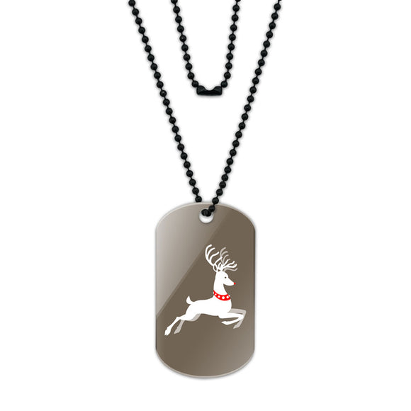 Prancing Reindeer Christmas Acrylic Dog Tag with Black Ball Chain