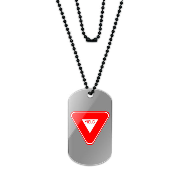 Yield Basic Red White Road Sign Acrylic Dog Tag with Black Ball Chain