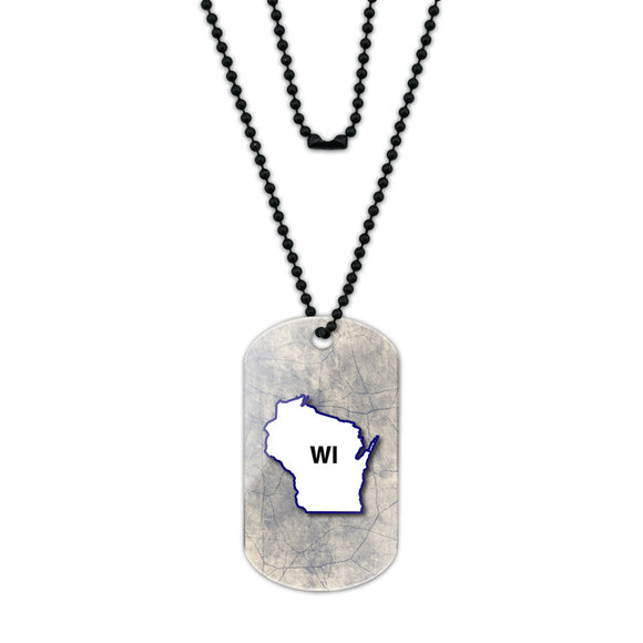 Wisconsin WI State Outline on Faded Blue Acrylic Dog Tag with Black Ball Chain