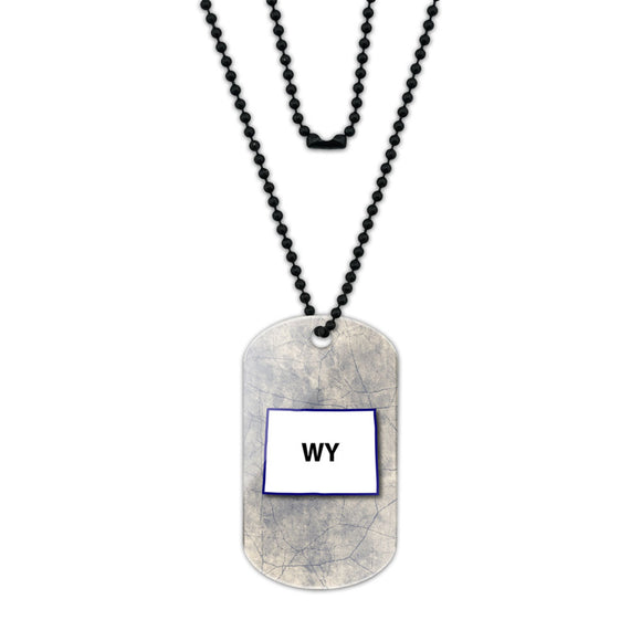 Wyoming WY State Outline on Faded Blue Acrylic Dog Tag with Black Ball Chain