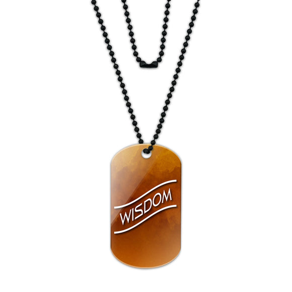 Wisdom Amber Clouds Acrylic Dog Tag with Black Ball Chain