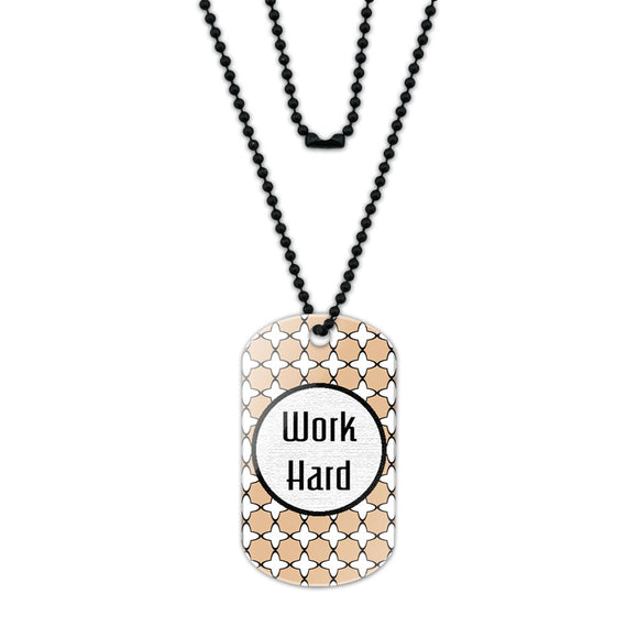 Work Hard Your Future Awaits Acrylic Dog Tag with Black Ball Chain