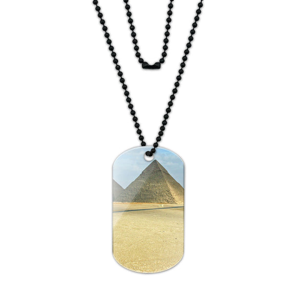 The Great Pyramids of Egypt Acrylic Dog Tag with Black Ball Chain