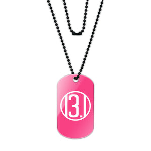 13.1 Miles Half Marathon Pink Acrylic Dog Tag with Black Ball Chain