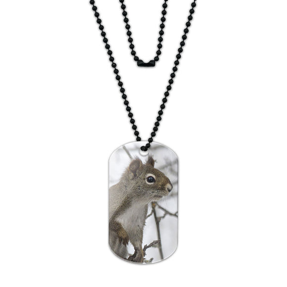 Winter Forest Tree Squirrel Acrylic Dog Tag with Black Ball Chain
