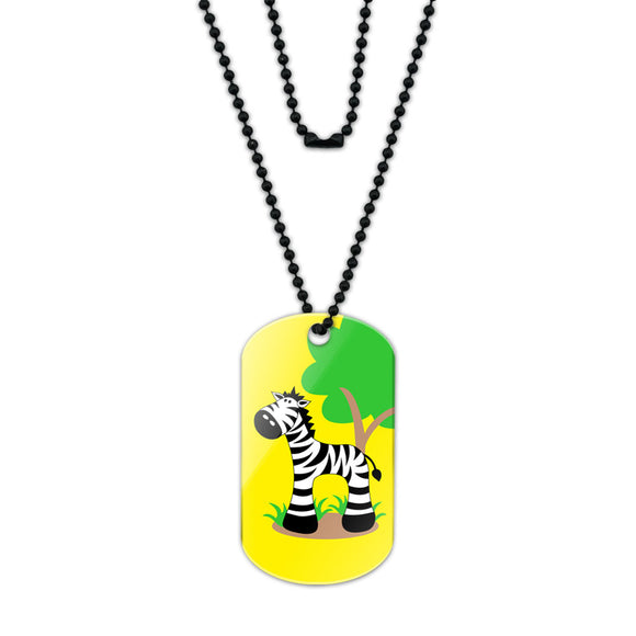 Zebra And Tree Cute Acrylic Dog Tag with Black Ball Chain