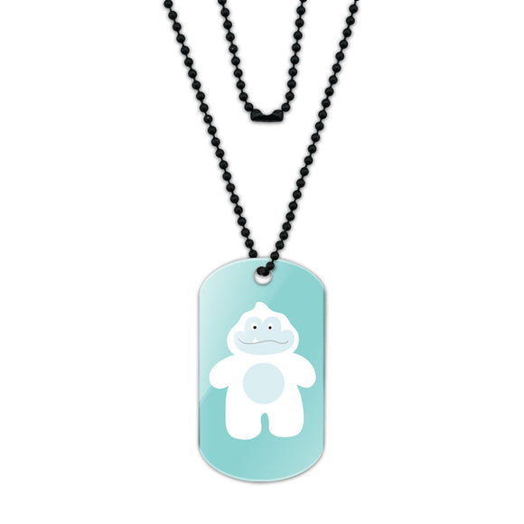 Yeti Abominable Snowman Acrylic Dog Tag with Black Ball Chain