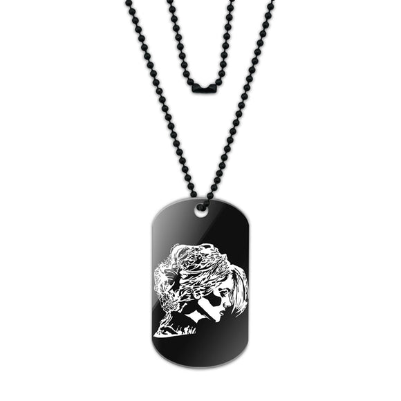 Woman Profile Chignon Hair Acrylic Dog Tag with Black Ball Chain