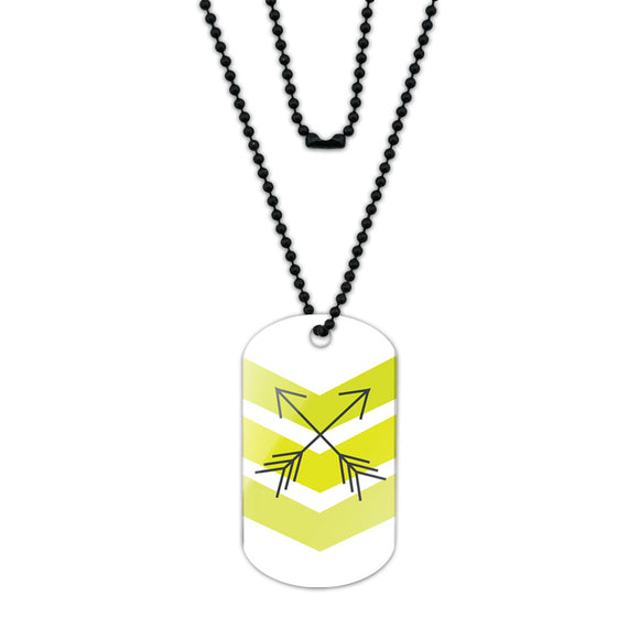 Yellow Chevrons & Arrows Acrylic Dog Tag with Black Ball Chain