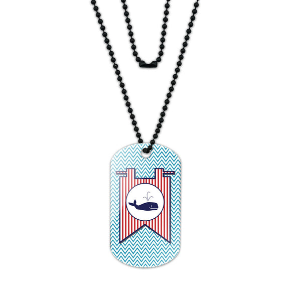 Whale Flag on Blue Chevron Nautical Acrylic Dog Tag with Black Ball Chain