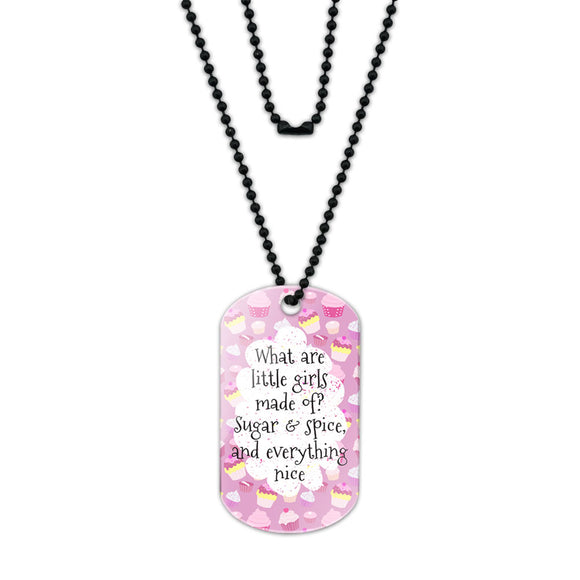 What are Little Girls Made of Acrylic Dog Tag with Black Ball Chain