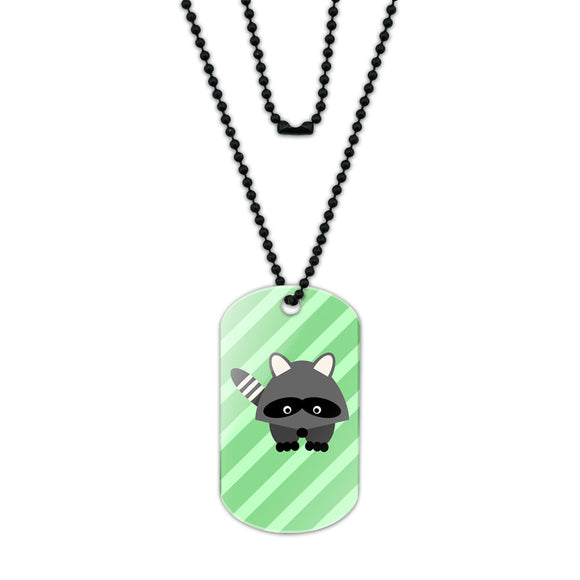 Woodland Raccoon Acrylic Dog Tag with Black Ball Chain