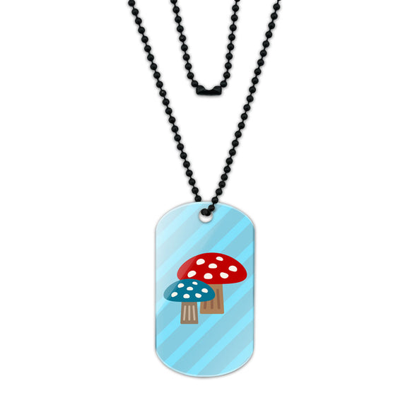 Woodland Mushrooms Acrylic Dog Tag with Black Ball Chain