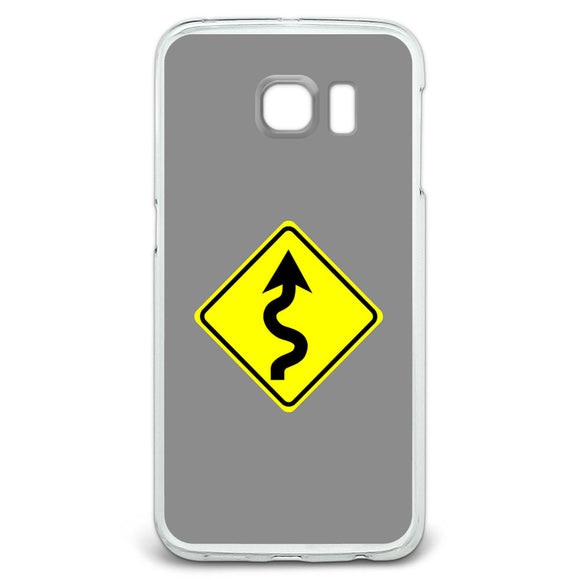 Winding Curvy Road Ahead Basic Yellow Sign Case Fits Samsung Galaxy S6 Edge