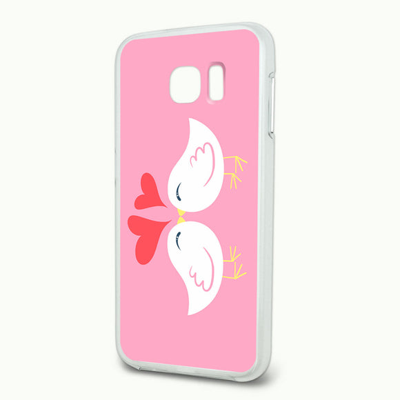 Sweet Kissing Birds in Love Pink Slim Fit Hybrid Case Fits Samsung Galaxy S6