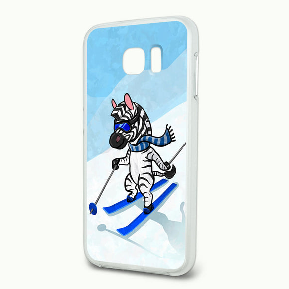 Zebra Skiing Slim Fit Hybrid Case Fits Samsung Galaxy S6