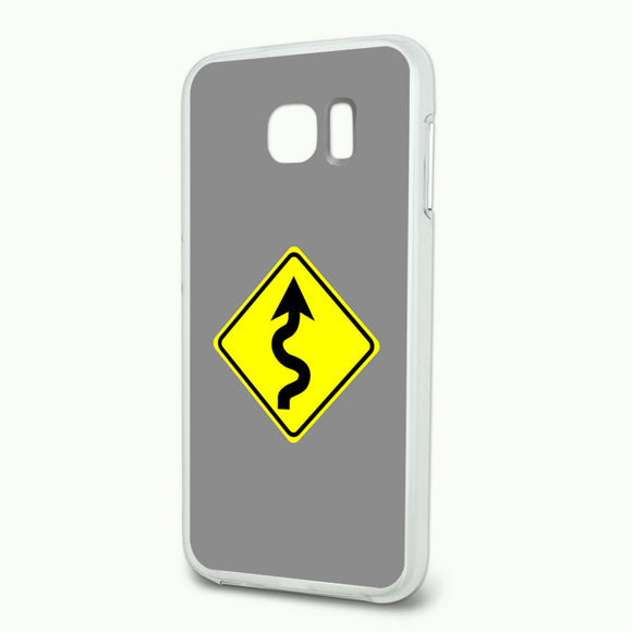 Winding Curvy Road Ahead Basic Yellow Sign Hybrid Case Fits Samsung Galaxy S6