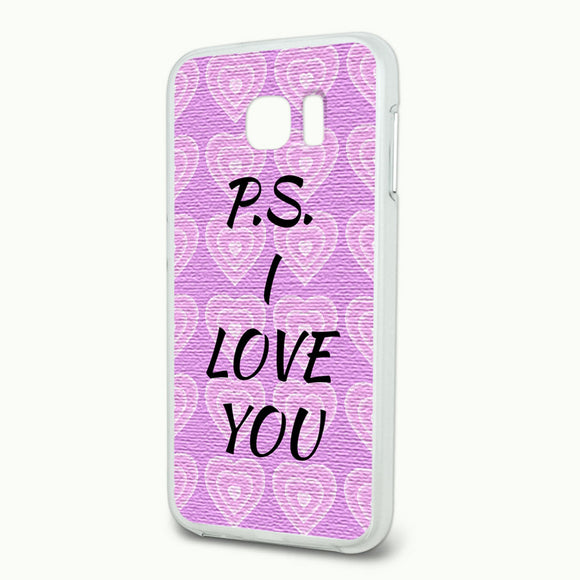PS I Love You on Pink Hearts Pattern Slim Fit Hybrid Case Fits Samsung Galaxy S6