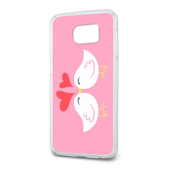 Sweet Kissing Birds in Love Pink Slim Fit Case Fits Samsung Galaxy S6