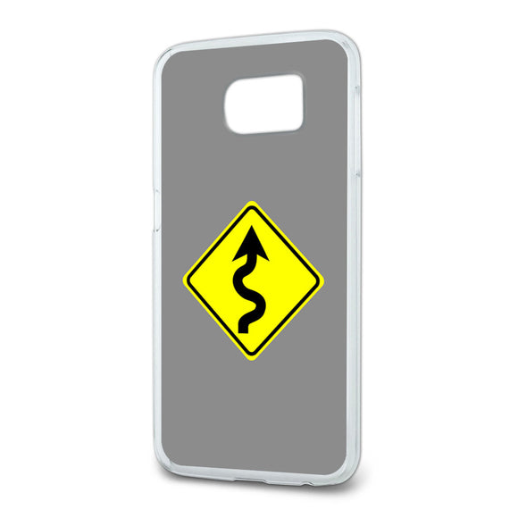 Winding Curvy Road Ahead Basic Yellow Sign Slim Fit Case Fits Samsung Galaxy S6