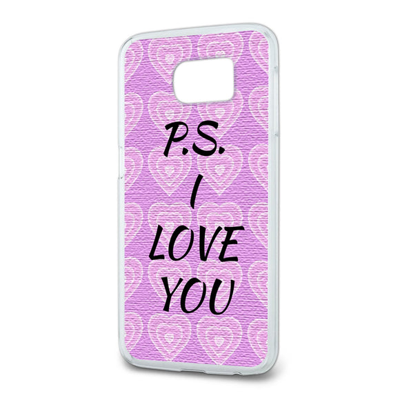 PS I Love You on Pink Hearts Pattern Slim Fit Case Fits Samsung Galaxy S6